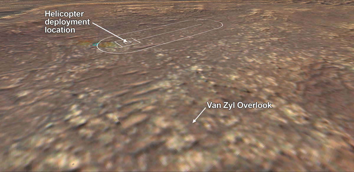 location where NASA's Perseverance rover will observe Ingenuity's attempt at powered controlled flight at Mars is called 'Van Zyl Overlook.'
