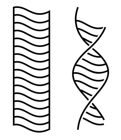 Two line drawings of two sets of rover wheel tracks, one straight and one twisted.
