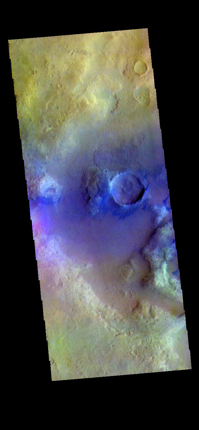 This image from NASAs Mars Odyssey shows the floor of an unnamed crater in Noachis Terra.