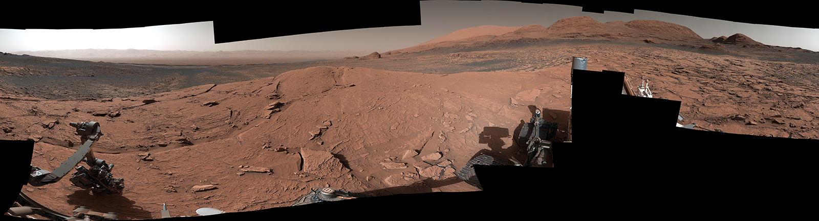 "NASA's Curiosity Mars rover took this 360-degree panorama while atop ""Mont Mercou,"" a rock formation that offered a view into Gale Crater below."
