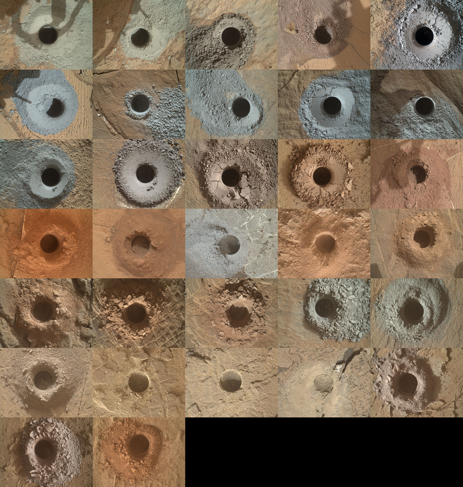 NASA's Curiosity Mars rover has used the drill on its robotic arm to take 32 rock samples to date. The Mars Hand Lens Imager (MAHLI), a camera on the end of the robotic arm, provided the images in this mosaic.
