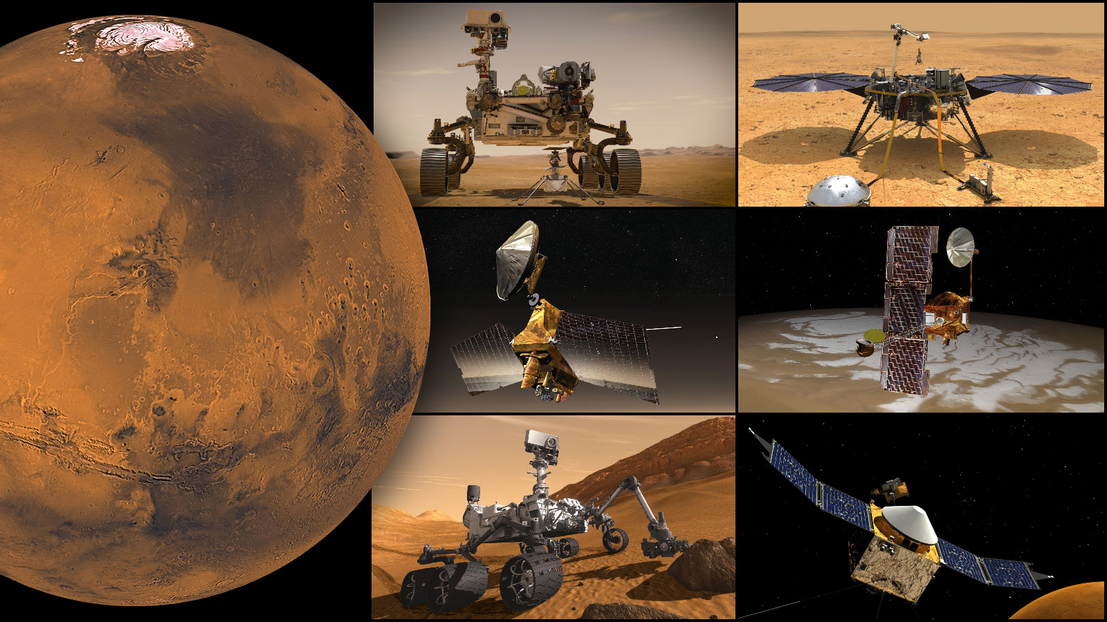 NASA's Mars Fleet Lies Low with Sun Between Earth and Red Planet