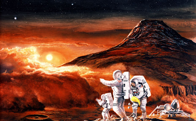 Artist's concept of the landing of the first human mission to Mars.