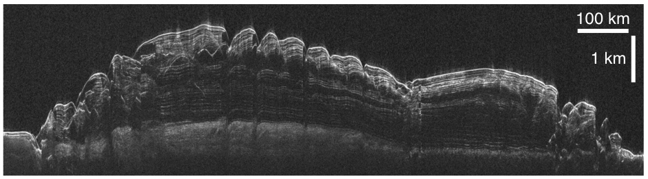 This is an unlabeled radargram from the Shallow Radar instrument on NASA's Mars Reconnaissance Orbiter, showing a cross-section of Mars' north polar cap, based on time lags of radio-wave echoes returning from different layers.