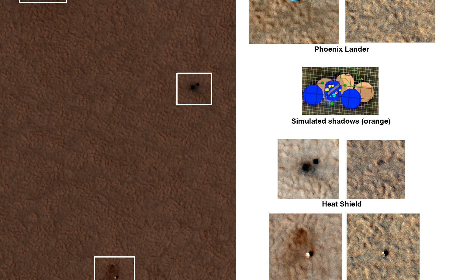 "This set of images shows ""before"" and ""after"" images of NASA's Phoenix Mars Lander taken by the High Resolution Imaging Science Experiment (HiRISE) camera on NASA's Mars Reconnaissance Orbiter."