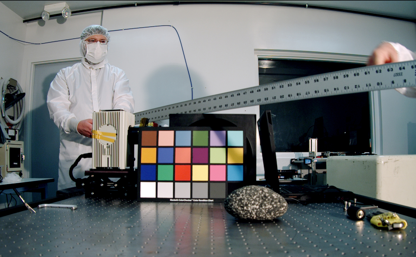 The Mars Descent Imager for NASA's Mars Science Laboratory took this image inside the Malin Space Science Systems clean room in San Diego, Calif., during calibration testing of the camera in June 2008.