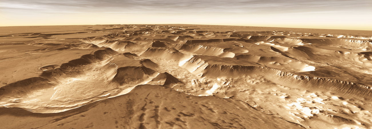 West of Valles Marineris lies a checkerboard named Noctis Labyrinthus, which formed when the Martian crust stretched and fractured.