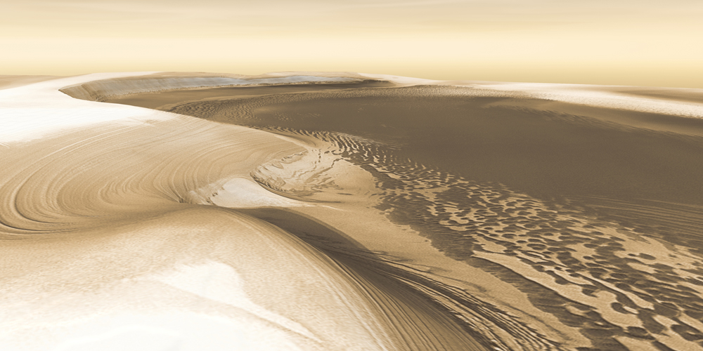 Chasma Boreale is a long, flat-floored valley that cuts deep into Mars' north polar icecap