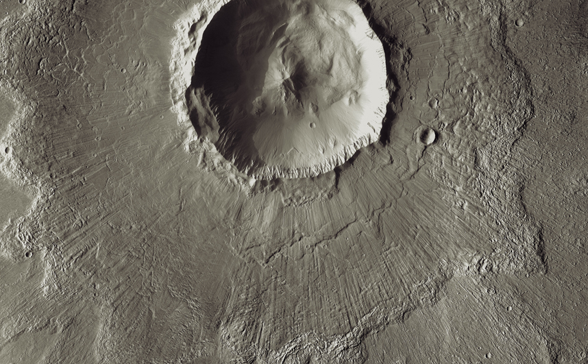 Bacolor Crater is a magnificent impact feature about 20 kilometers (12 miles) wide.