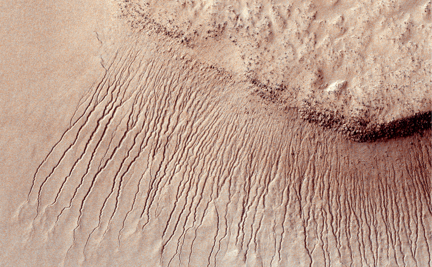 Images like this from the High Resolution Imaging Science  Experiment (HiRISE) camera on NASA's Mars Reconnaissance Orbiter show portions  of the Martian surface in unprecedented detail.