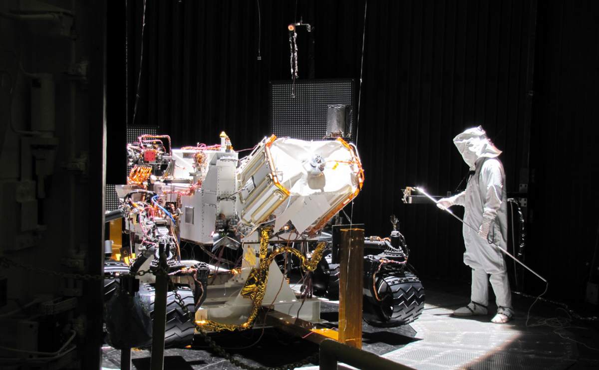 This image shows preparation for one phase of testing of the Mars Science Laboratory rover, Curiosity.