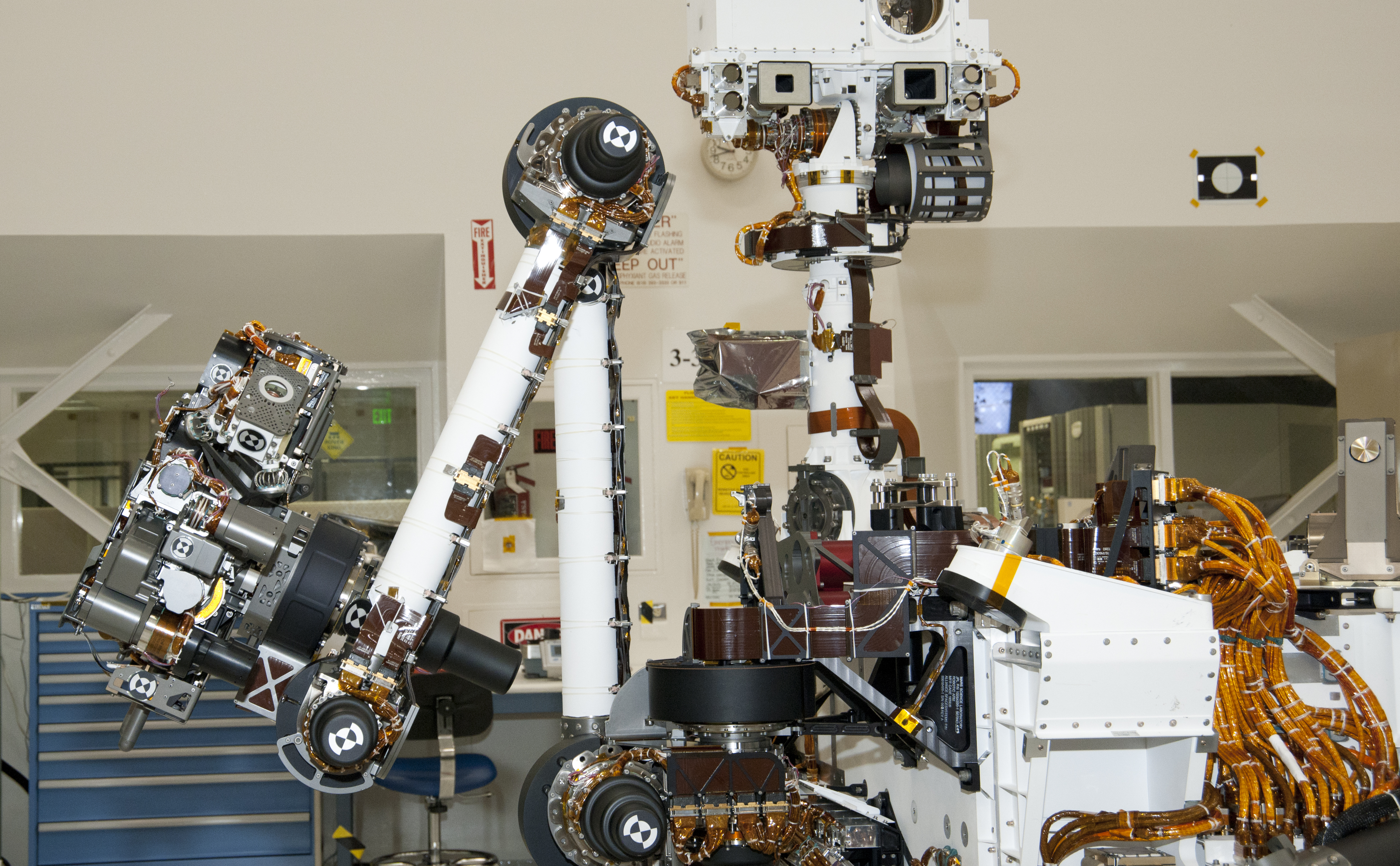 The arm and the remote sensing mast of the Mars rover Curiosity each carry science instruments and other tools for NASA's Mars Science Laboratory mission.
