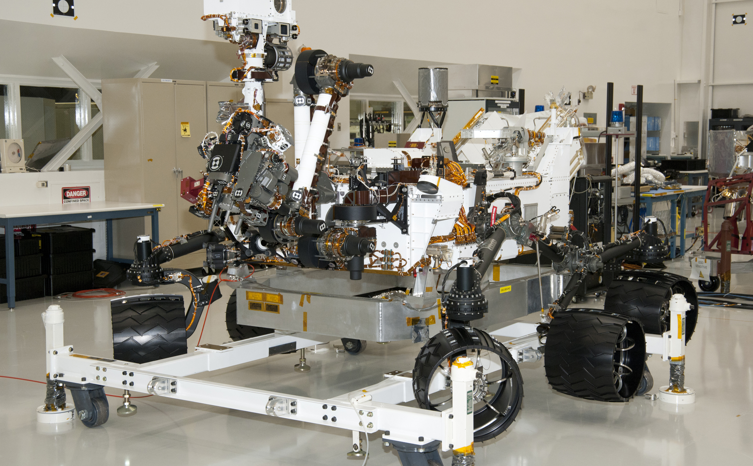NASA Mars Rover Curiosity at JPL, View from Front Left Corner