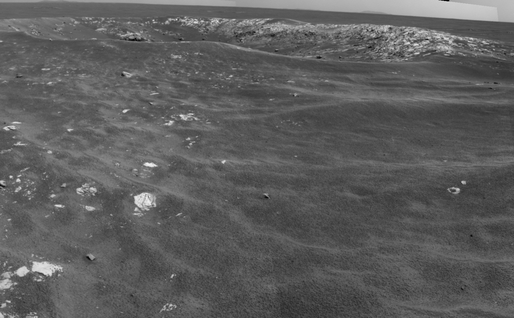 "NASA's Mars Exploration Rover Opportunity recorded this view of a crater informally named ""Freedom 7"" shortly before the 50th anniversary of the first American in space: astronaut Alan Shepard's flight in the Freedom 7 spacecraft."
