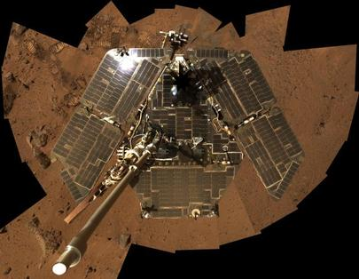 In this selfie, Spirit shows her solar panels gleaming in the Martian sunlight and carrying only a thin veneer of dust two years after the rover landed and began exploring the red planet.
