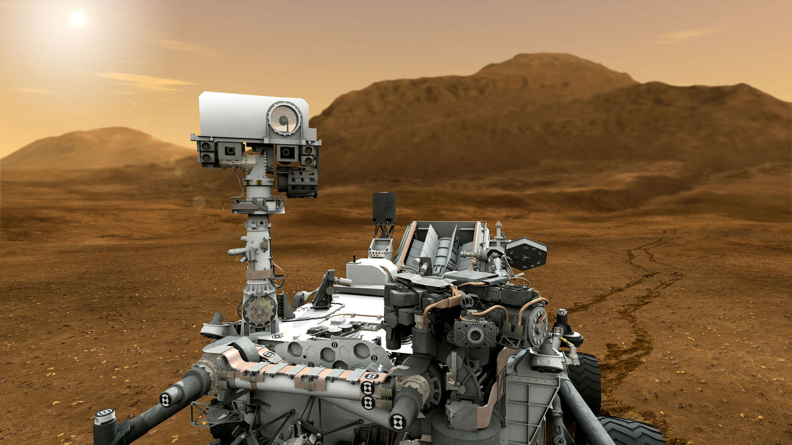 This artist concept features NASA's Mars Science Laboratory Curiosity rover,