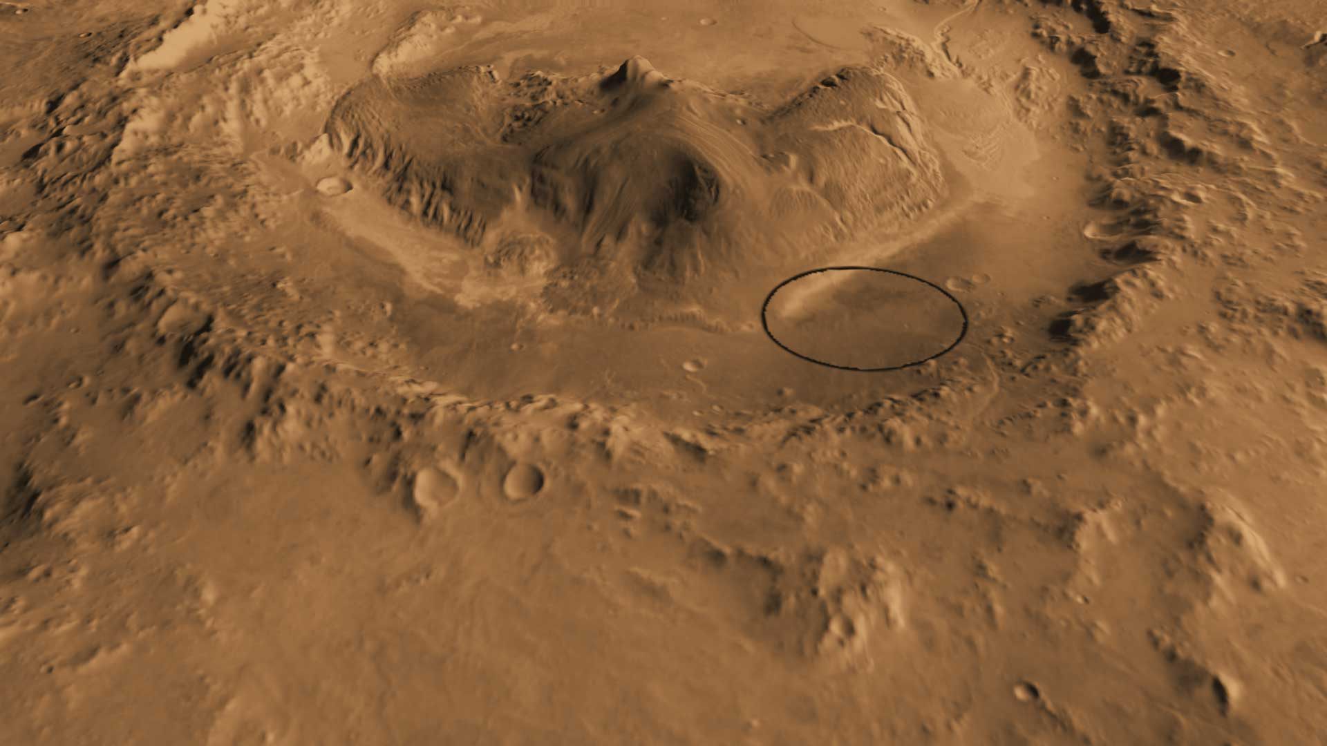 This computer-generated view based on multiple orbital observations shows Mars' Gale crater as if seen from an aircraft north of the crater.