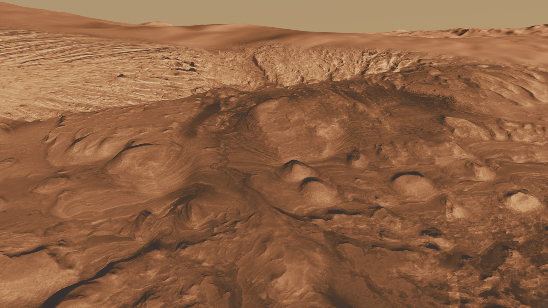 This oblique view of the mound in Gale crater shows several different rock types of interest to the Mars Science Laboratory mission.
