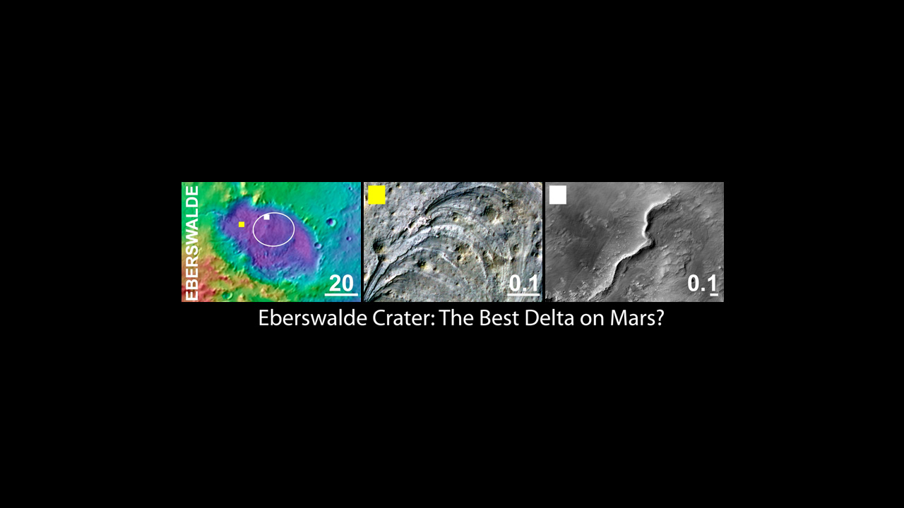An area inside Eberswalde crater was considered as a landing site for NASA's Mars Science Laboratory mission.