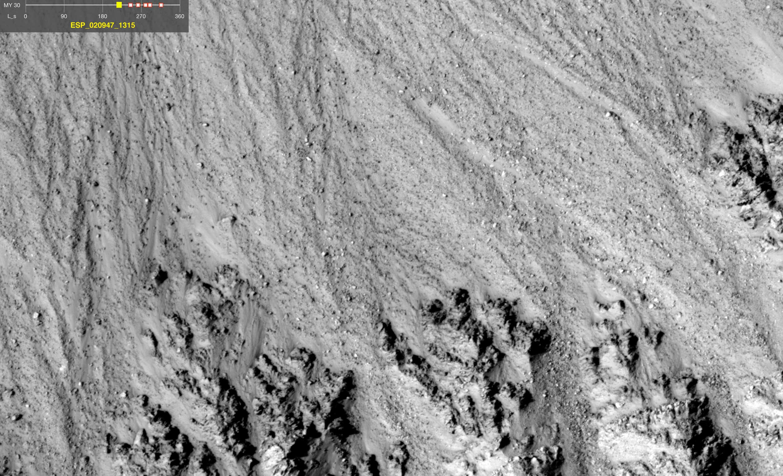 This series of images shows warm-season features that might be evidence of salty liquid water active on Mars today.
