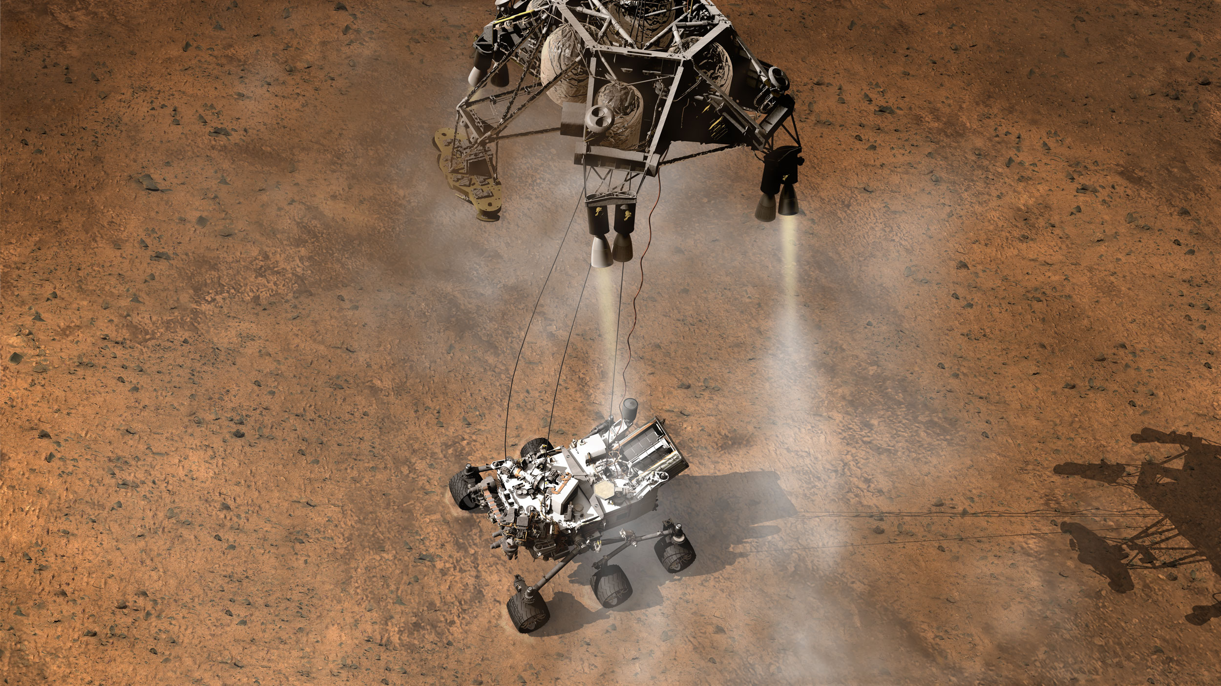 This artist's concept depicts the moment immediately after NASA's Curiosity rover touches down onto the Martian surface.