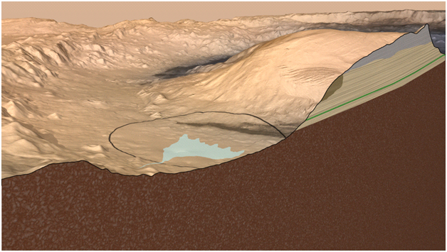This artist's impression Mars' Gale Crater depicts a cross section through the mountain in the middle of the crater, from a viewpoint looking toward the southeast.