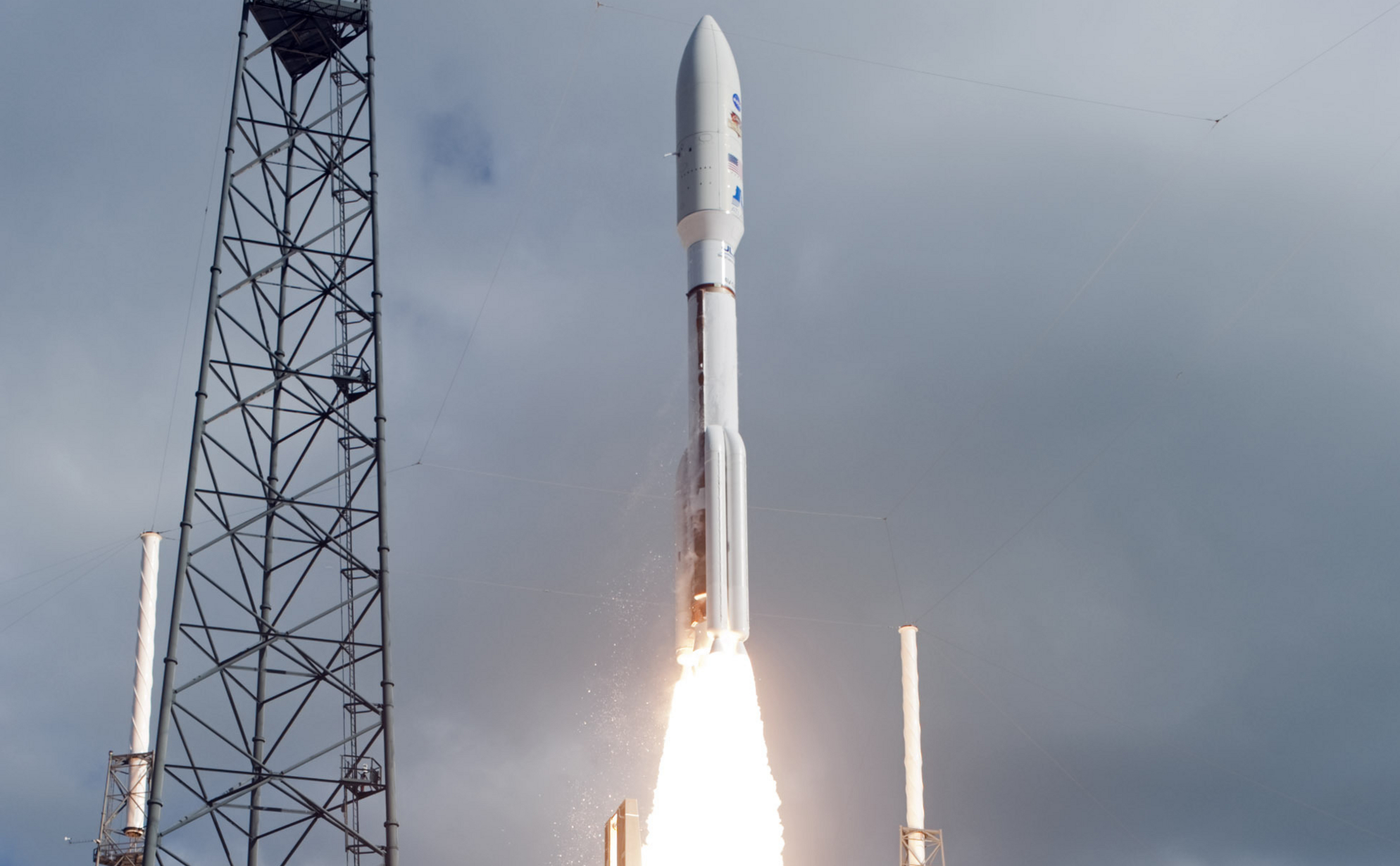 With NASA's Mars Science Laboratory (MSL) spacecraft sealed inside its payload fairing, the United Launch Alliance Atlas V rocket lifts off from Space Launch Complex-41 on Cape Canaveral Air Force Station in Florida at 10:02 a.m. EST Nov. 26.