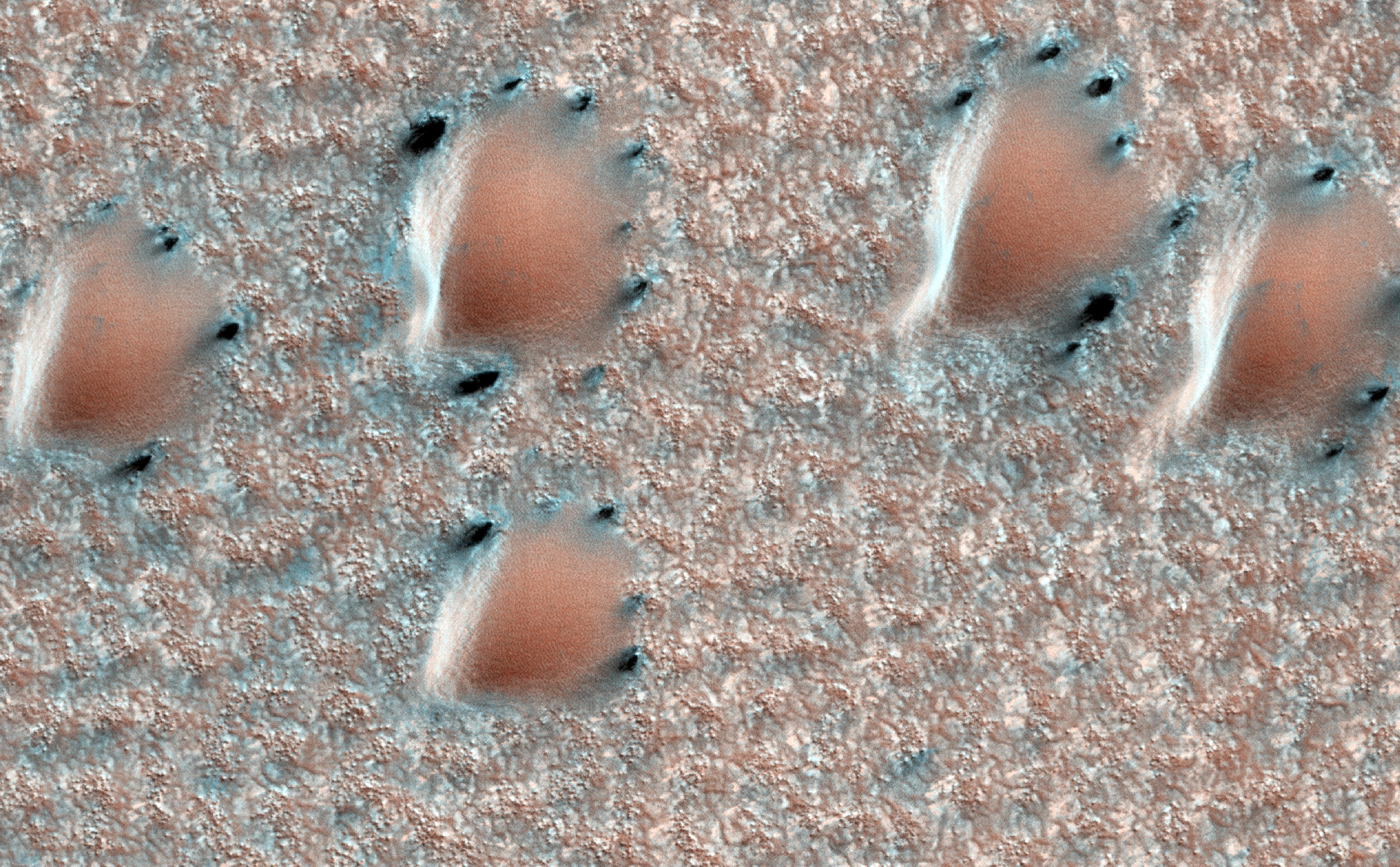 This scene is from early spring in the northern hemisphere of Mars. These dunes are covered with a layer of seasonal carbon dioxide ice (dry ice).