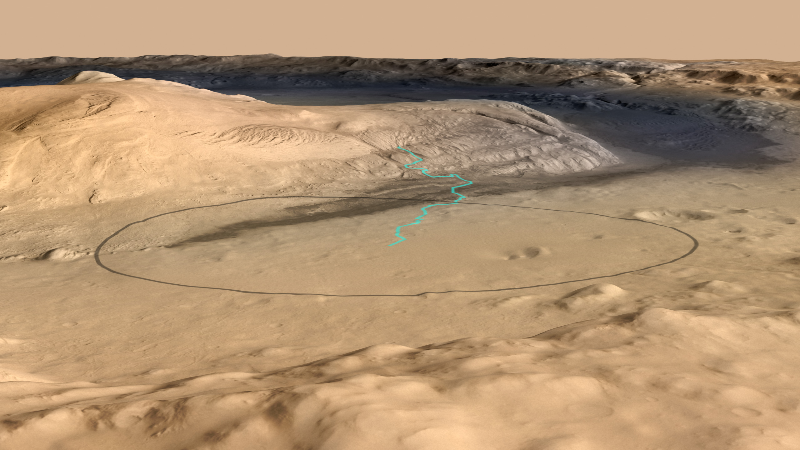 This image shows the target landing area for Curiosity, the rover of NASA's Mars Science Laboratory mission.