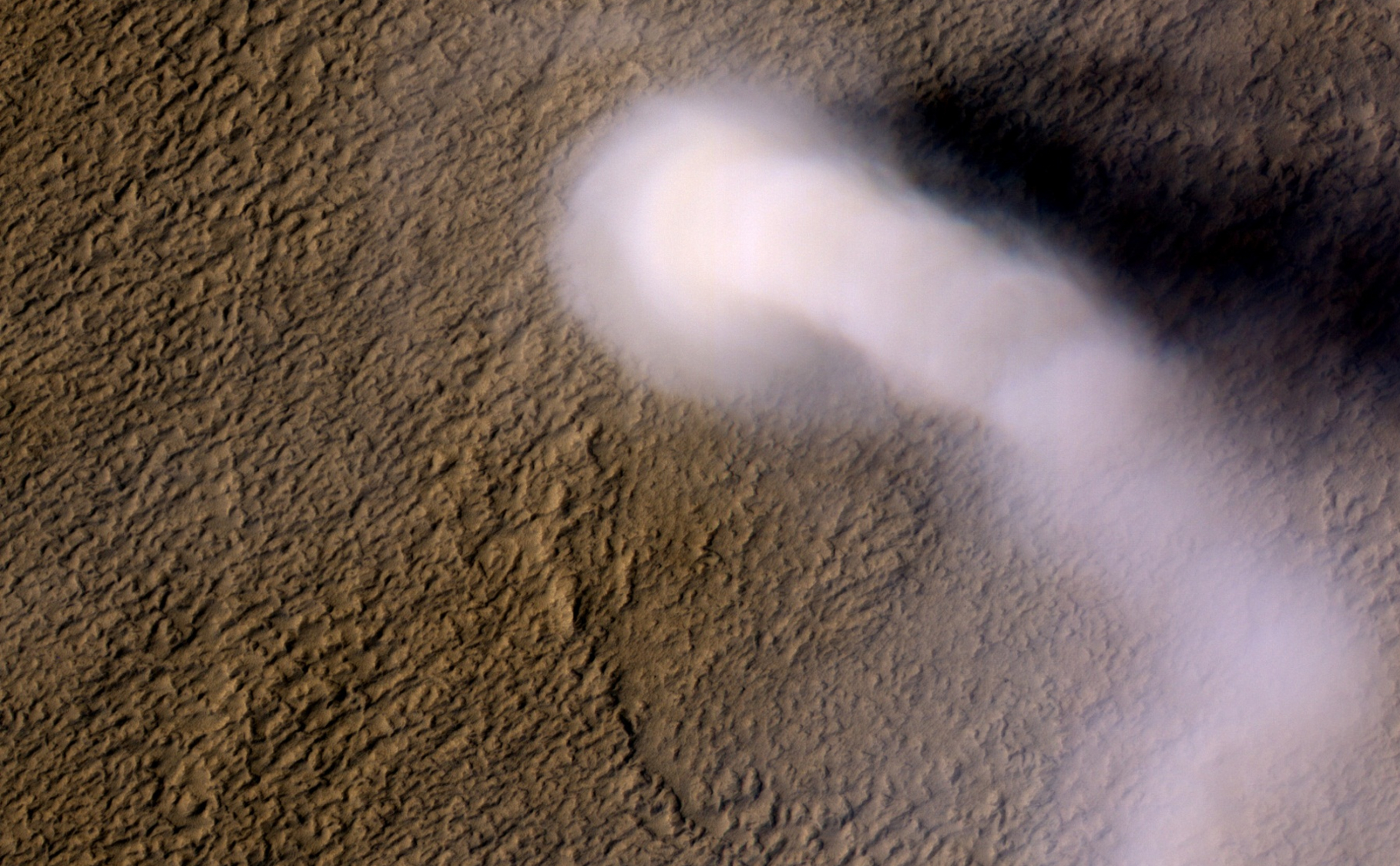A Martian dust devil roughly 12 miles (20 kilometers) high was captured winding its way along the Amazonis Planitia region of Northern Mars on March 14, 2012 by the High Resolution Imaging Science Experiment (HiRISE) camera on NASA's Mars Reconnaissance Orbiter.