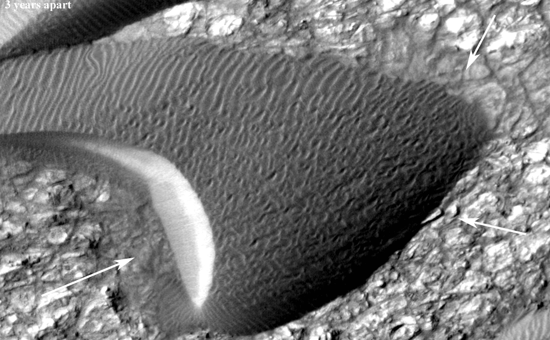 Back-and-forth blinking of this two-image animation shows movement of a sand dune on Mars. The images are part of a study published by Nature on May 9, 2012, reporting movement of Martian sand dunes at about the same flux (volume per time) as movement of dunes in Antarctica on Earth.