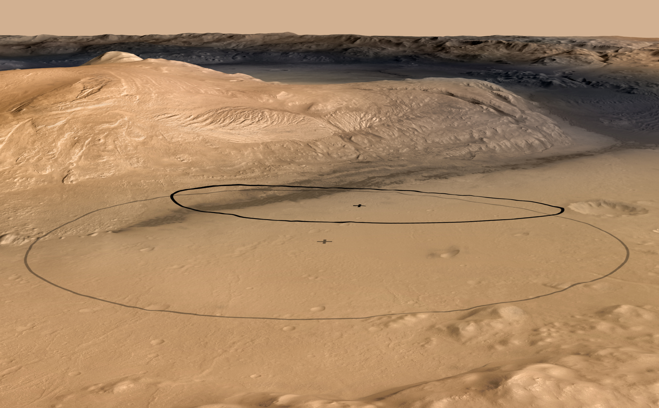 This image shows changes in the target landing area for Curiosity, the rover of NASA's Mars Science Laboratory project.