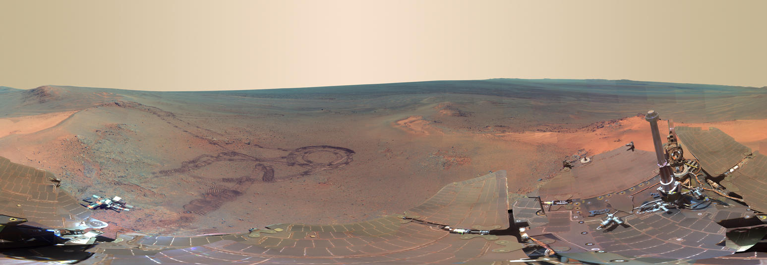 This full-circle scene combines 817 images taken by the panoramic camera (Pancam) on Opportunity.