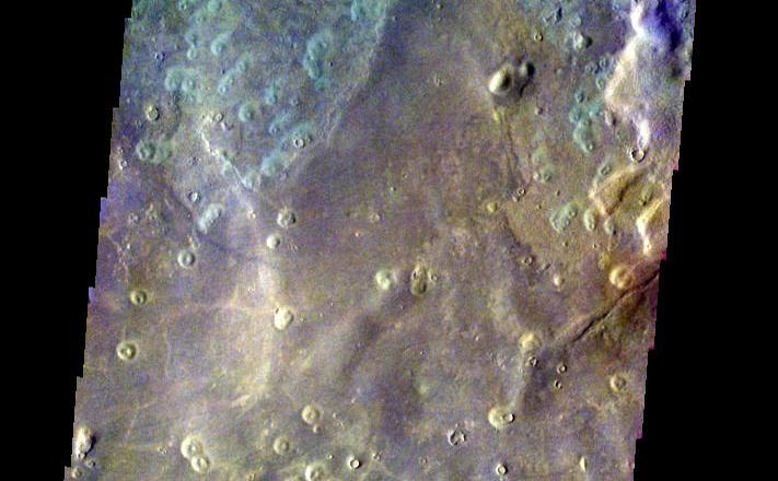 This image of a crater in Acidalia Planitia was acquired March 8, 2003, during northern summer.