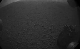 This is the first image taken by NASA's Curiosity rover, which landed on Mars the evening of Aug. 5 PDT (morning of Aug. 6 EDT).