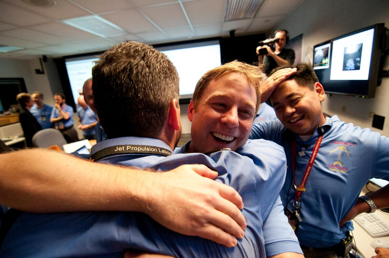 The Entry, Descent and Landing team celebrate after the successful landing of the Curiosity rover on Mars.