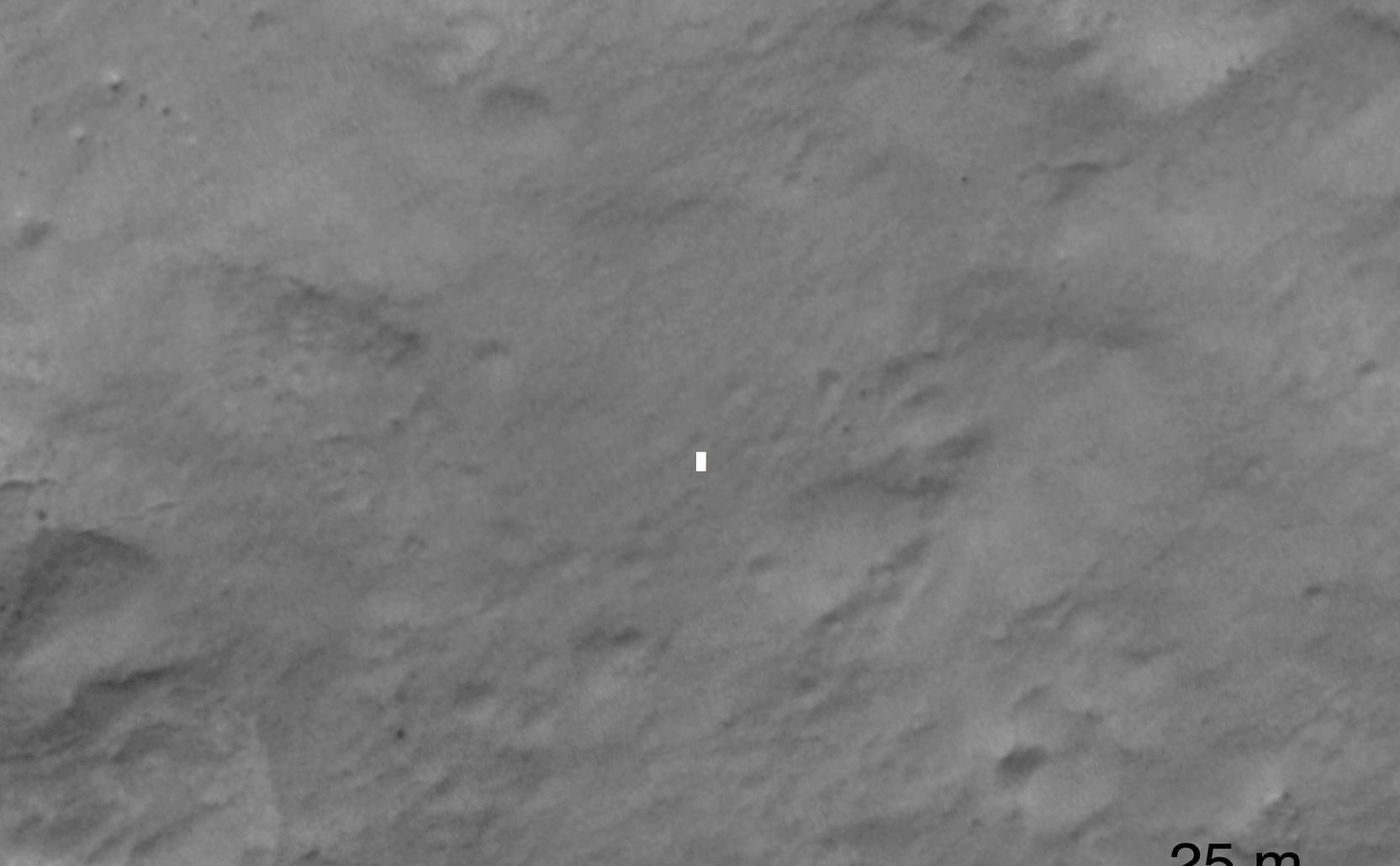 This set of images compares a black-and-white image from the High Resolution Imaging Science Experiment (HiRISE) aboard NASA's Mars Reconnaissance Orbiter to a color image obtained by the Mars Descent Imager aboard NASA's Curiosity rover during its descent to the surface.
