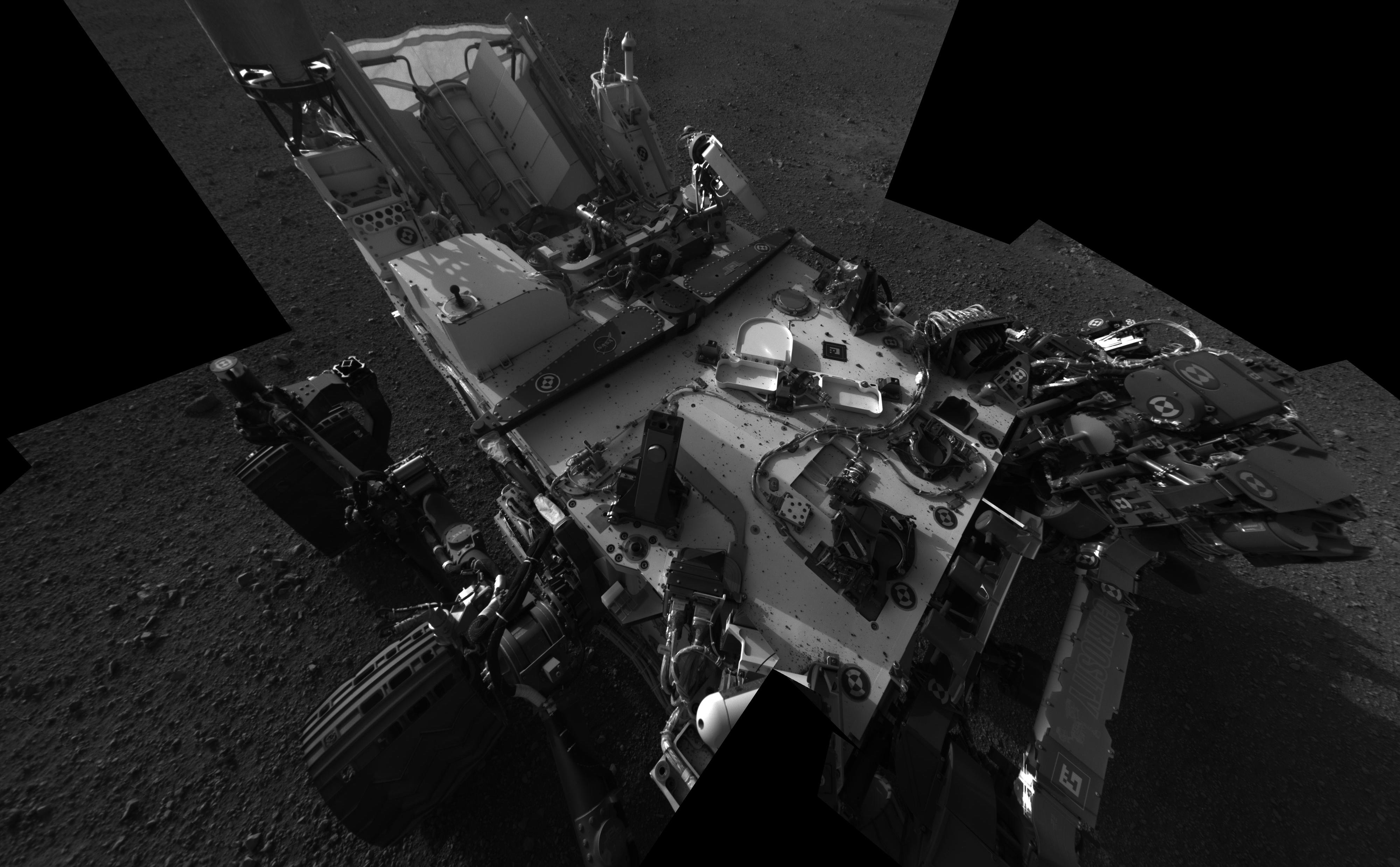 This full-resolution self-portrait shows the deck of NASA's Curiosity rover from the rover's Navigation camera.