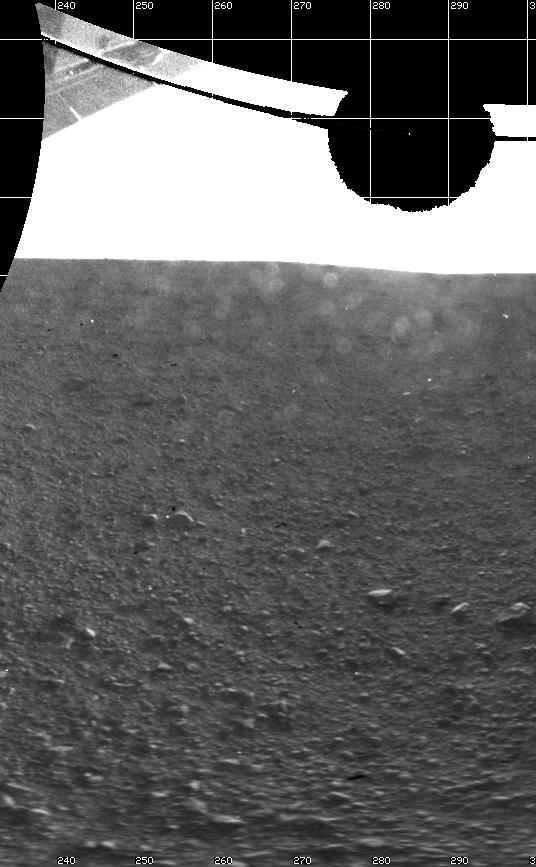 The Curiosity engineering team created this view from images taken by NASA's Curiosity rover rear hazard avoidance cameras underneath the rover deck on Sol 0.