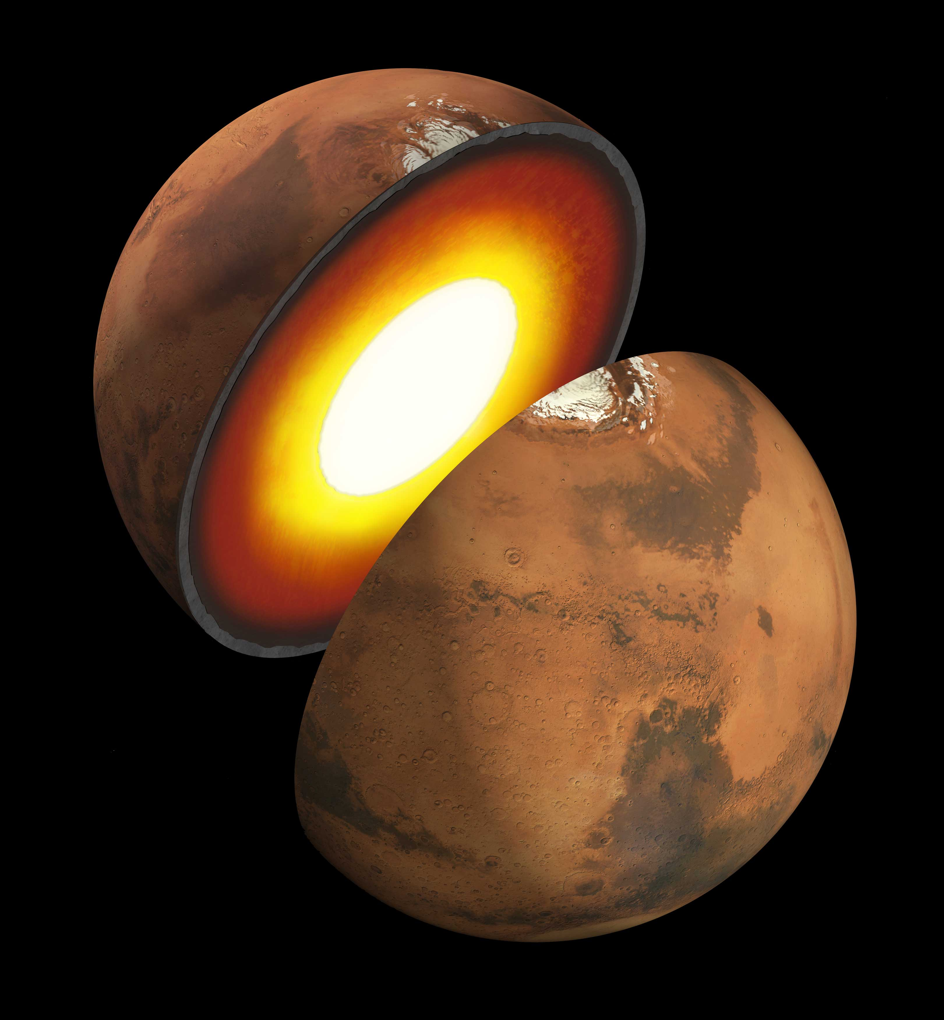 Artist's rendition showing the inner structure of Mars.