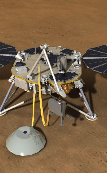 This artist's rendition shows NASA's future InSight Mars lander spacecraft on the Red Planet. The mission, which is scheduled to launch in 2016, is designed to investigate the evolution of Mars.