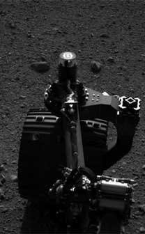 This set of images shows the movement of the rear right wheel of NASA's Curiosity as rover drivers turned the wheels in place at the landing site on Mars.