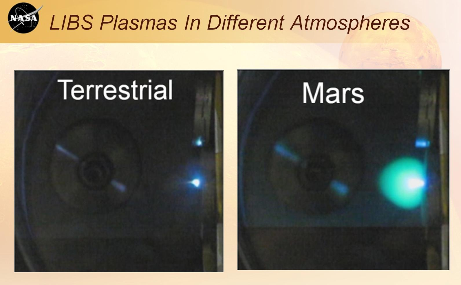 This image shows laser plasmas in a test lab at Los Alamos National Laboratory, N.M., under typical atmospheric pressures on Earth and Mars.