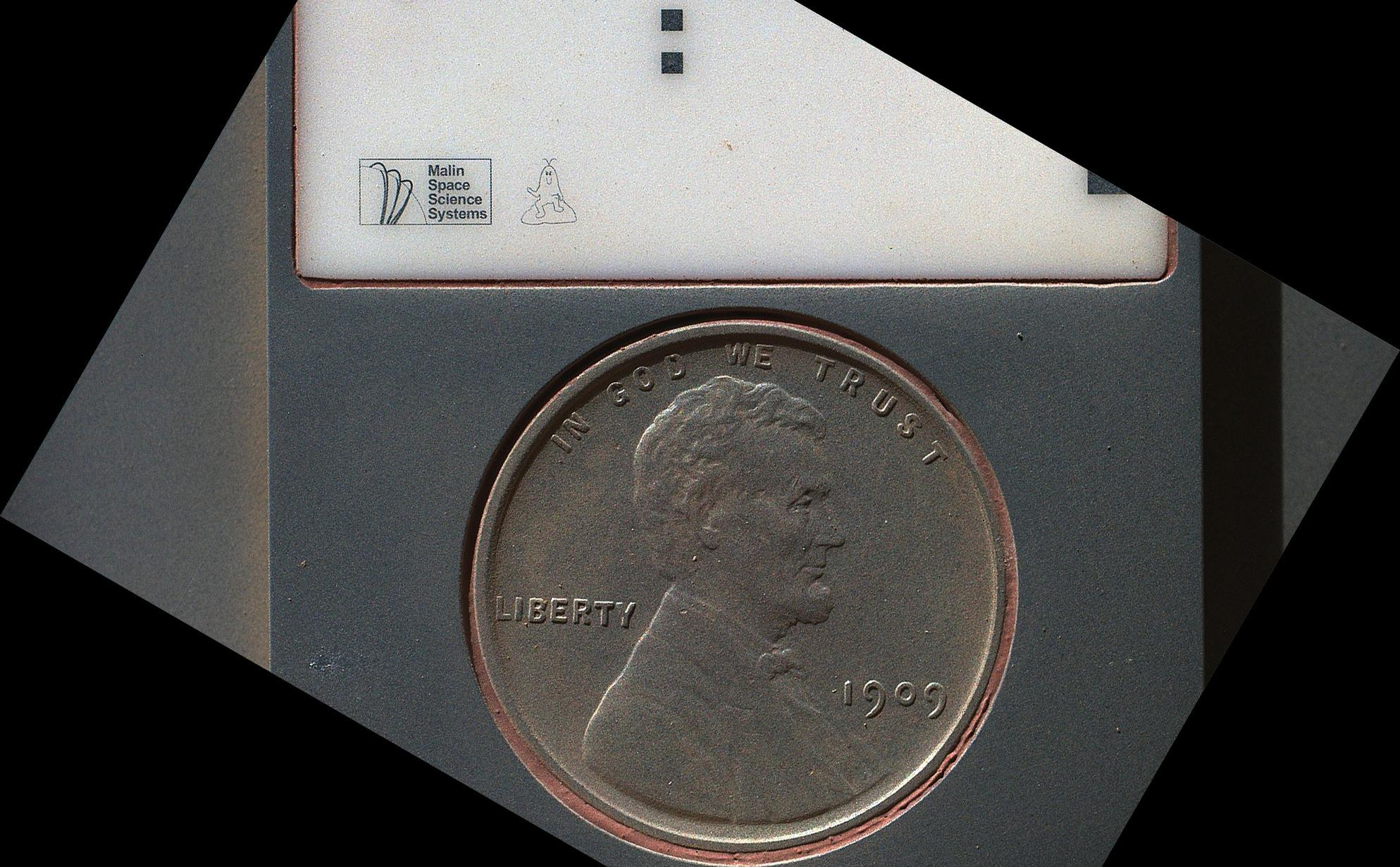 The penny in this image is part of a camera calibration target on NASA's Mars rover Curiosity.