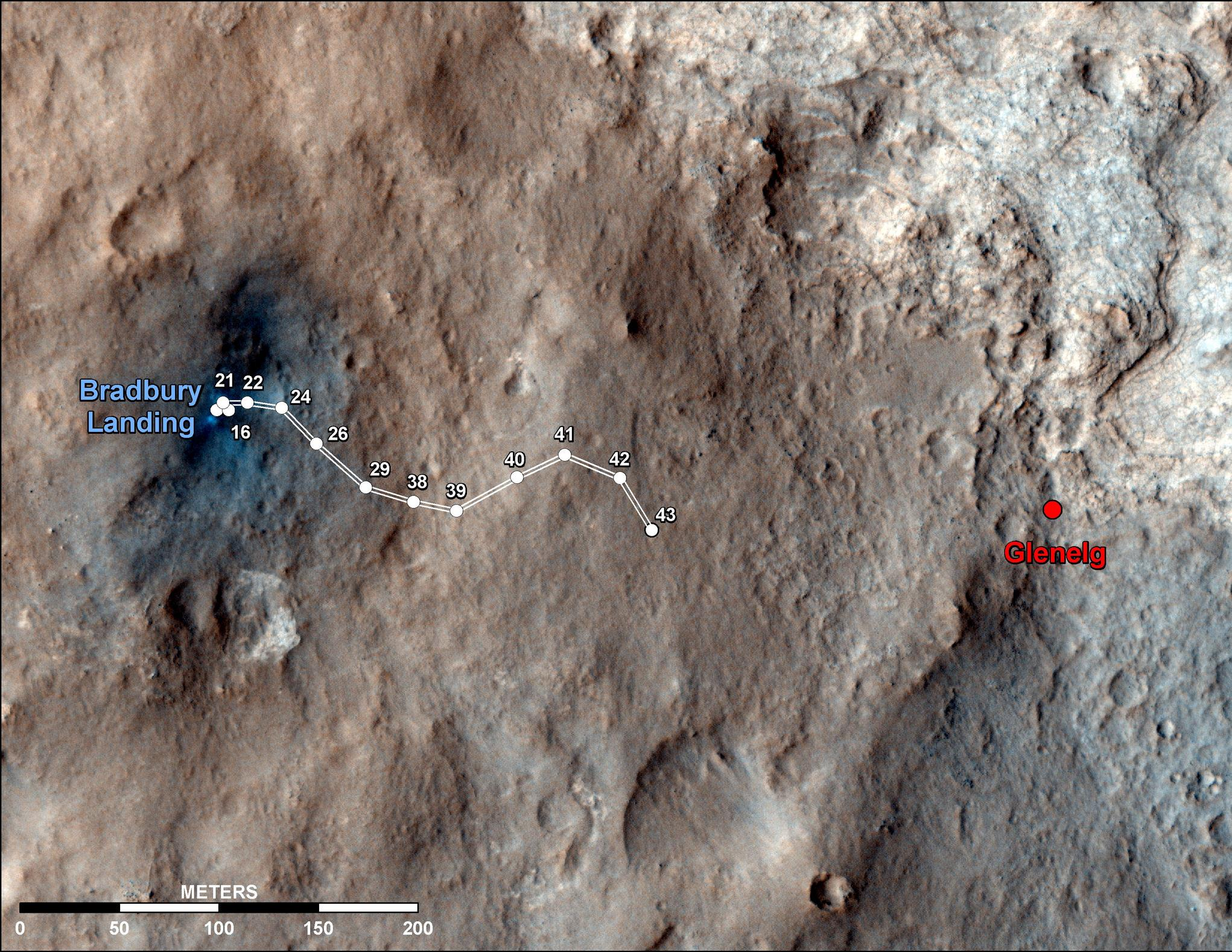 This map shows the route driven by NASA's Mars rover Curiosity through the 43rd Martian day, or sol, of the rover's mission on Mars (Sept. 19, 2012).