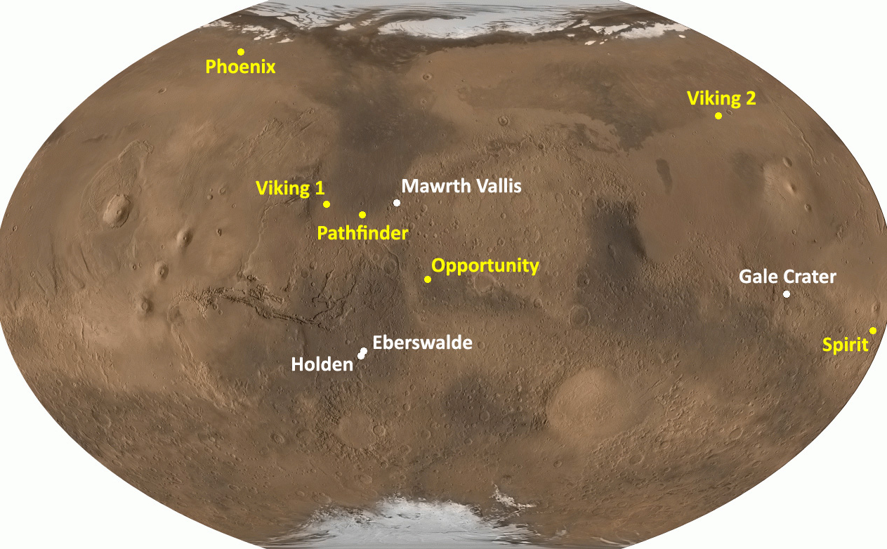 This image shows a globe of Mars with the locations of the four proposed landing sites noted in white font and the locations of prior landed missions in yellow font.  Prior landed missions include:  Viking 1 and 2, Pathfinder, Spirit, Opportunity, and Phoenix.  Proposed MSL landing sites include:  Mawrth Vallis, Gale Crater, Holden Crater, and Eberswalde Crater.