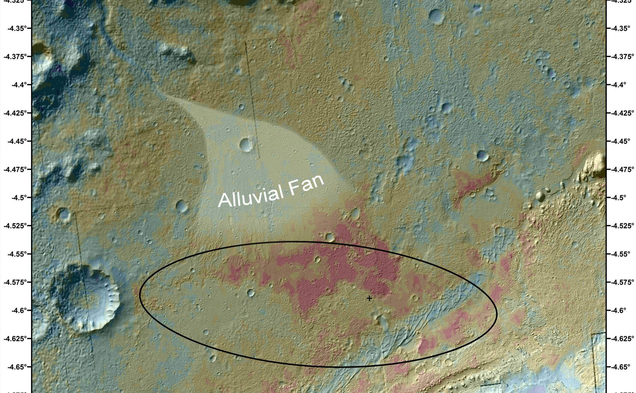 This false-color map shows the area within Gale Crater on Mars, where NASA's Curiosity rover landed on Aug. 5, 2012 PDT (Aug. 6, 2012 EDT).