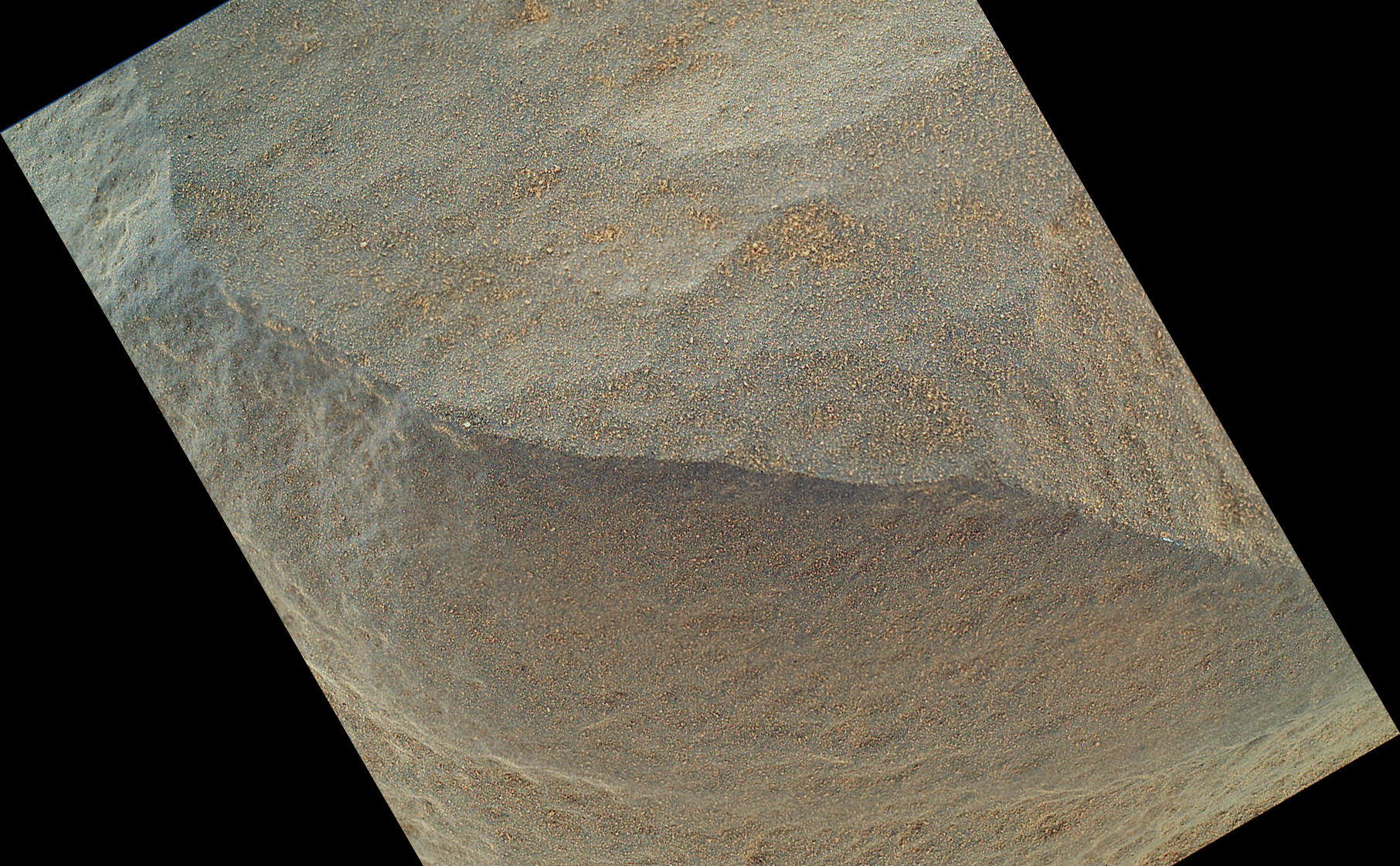 "This is the highest-resolution view that the Mars Hand Lens Imager (MAHLI) on NASA's Mars rover Curiosity acquired of the top of a rock called ""Bathurst Inlet."""