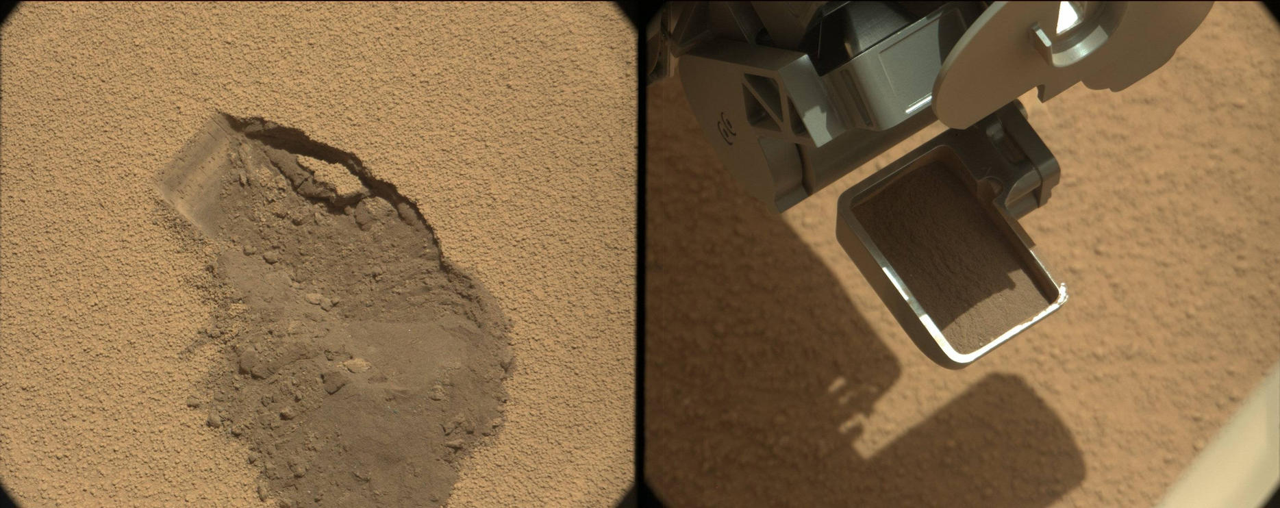 This pairing illustrates the first time that NASA's Mars rover Curiosity collected a scoop of soil on Mars.