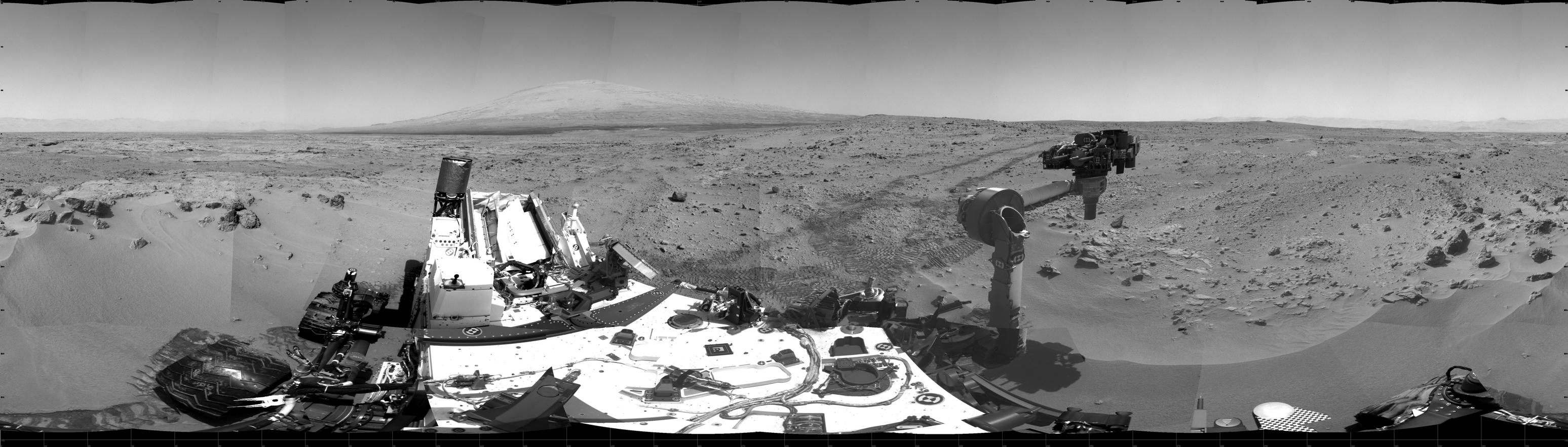 This 360-degree scene shows the surroundings of the location where NASA Mars rover Curiosity arrived on the 59th Martian day, or sol, of the rover's mission on Mars (Oct. 5, 2012).